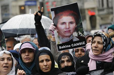 Pro-Kurdish demonstrators shout slogans as they hold a picture of slain Kurdish activist Sakine Cansiz during a protest in central Istanbul January 11, 2013. REUTERS/Murad Sezer