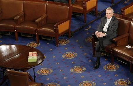 Senate Majority Leader Harry Reid listens to proceedings during a joint session of Congress held to certify the electoral college results and deem President Barack Obama the next U.S. president in the Capitol in Washington January 4, 2013. REUTERS/Kevin Lamarque