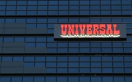 The logo of the Universal Entertainment Corp. is seen at the company's headquarters in Tokyo November 30, 2012. REUTERS/Toru Hanai