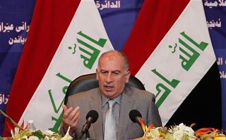 Iraqi parliament speaker Osama al-Nujaifi speaks during a news conference in Baghdad July 31, 2011. REUTERS/Mohammed Ameen