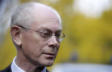 European Union President Herman Van Rompuy of Belgium makes a statement at the Finnish Prime Minister Jyrki Katainen's official residence in Helsinki October 12, 2012. REUTERS/LEHTIKUVA/Vesa Moilanen