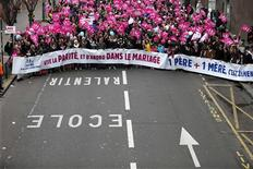 Thousands of demonstrators march in Paris, to protest France's planned legalisation of same-sex marriage, January 13, 2013. REUTERS/Charles Platiau