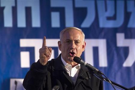 Israeli Prime Minister Benjamin Netanyahu speaks at a conference in the coastal city of Netanya, north of Tel Aviv January 13, 2013, ahead of the Israeli general election due January 22. REUTERS/ Baz Ratner
