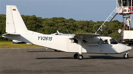 The Britten-Norman BN-2 Islander aircraft YV-2615, which was reported missing on January 4, 2013, is pictured in this undated handout photo. REUTERS/Nacional Institute of Civil Aviation/Handout