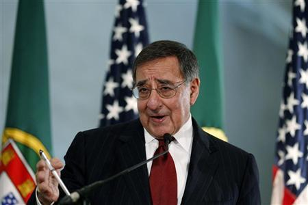 Defense Secretary Leon Panetta answers questions from journalists during a news conference at Sao Juliao fortress, on the outskirts of Lisbon, January 15, 2013. REUTERS/Rafael Marchante