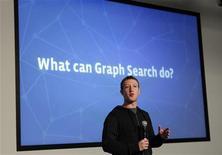 """L'AD di Facebook Mark Zuckerberg al lancio di """"Graph Search"""". REUTERS/Robert Galbraith"""