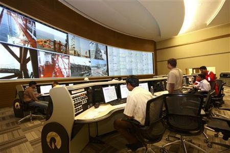 The control room of the Reliance Industries KG-D6 facility located in Andhra Pradesh is pictured in this undated handout photo. REUTERS/Reliance Industries/Handout