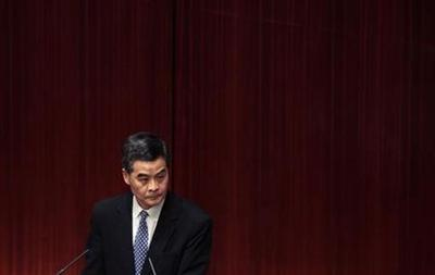 Hong Kong leader fights uphill battle in maiden policy speech