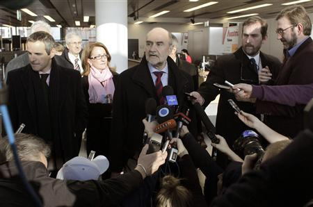 Herman Nackaerts, head of a delegation of the International Atomic Energy Agency (IAEA), speaks to media before departing for Iran, at the airport in Vienna January 15, 2013. REUTERS/Herwig Prammer