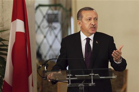 Turkey's Prime Minister Tayyip Erdogan speaks to the media during a meeting with Senegal's President Macky Sall at the presidential palace in Dakar January 10, 2013. REUTERS/Joe Penney