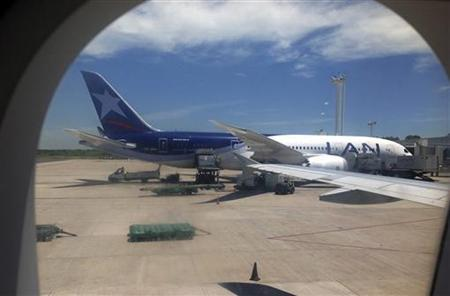 A LAN Boeing 787 airplane, flight 455, is seen after landing in Buenos Aires international airport January 11, 2013. Chile-based LAN said it will temporarily ground its three Boeing 787 Dreamliners following a safety warning issued on January 16, 2013 by the U.S. Federal Aviation Administration (FAA). LAN issued a statement saying the airliners will remain grounded ''until the FAA defines the required actions.'' The airline uses its Boeing 787s on routes to Los Angeles, Lima and Buenos Aires. Picture taken January 11, 2013. REUTERS/Alejandro Lifchitz (ARGENTINA - Tags: TRANSPORT BUSINESS)