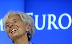 Глава Международного валютного фонда Кристин Лагард выступает на пресс-конференции в Брюсселе, 21 июля 2011 года. Программа помощи Греции движется в верном направлении, сказала в среду глава Международного валютного фонда Кристин Лагард после того, как совет МВФ решил выплатить очередную порцию средств Афинам. REUTERS/Eric Vidal