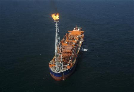 Reliance Industries' KG-D6 floating production storage and offloading (FPSO) vessel is seen off the Bay of Bengal in this undated handout photo. REUTERS/Reliance Industries/Handout