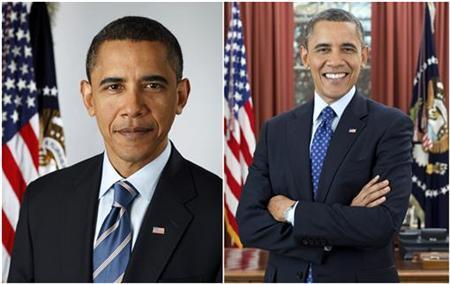 Official White House portraits show U.S. President Barack Obama on January 13, 2009 (L) and on December 6, 2012. REUTERS/Pete Souza/The White House/Handout