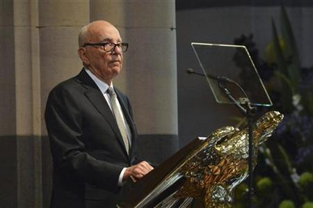 News Corp. Chairman and Chief Executive Rupert Murdoch gives a speech at the state memorial service for his mother Dame Elisabeth Murdoch in Melbourne December 18, 2012. REUTERS/Alex Coppel/Pool