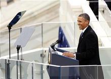 El presidente de Estados Unidos, Barack Obama, durante su ceremonia de asunción al cargo en el Capitolio en Washington, ene 21 2013. El presidente de Estados Unidos, Barack Obama, tomó el lunes posesión de su cargo para un segundo mandato en una ceremonia en el Capitolio, en Washington. REUTERS/Kevin Lamarque