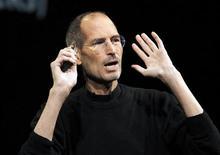 El cofundador de Apple, Steve Jobs, amenazó con presentar una demanda de patentes contra Palm si el consejero delegado de la compañía no aceptaba abstenerse de captar empleados de Apple, según un documento judicial hecho público el martes. En la imagen, de archivo, el cofundador de Apple Steve Jobs en una conferencia en San Francisco. REUTERS/Beck Diefenbach