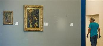 Um espaço vazio na parede marca o local onde a pintura roubada de Henri Matisse era exposta na galéria Kunsthal de Roterdã, nos Países Baixos. 16/10/2012 REUTERS/Robin van Lonkhuijsen