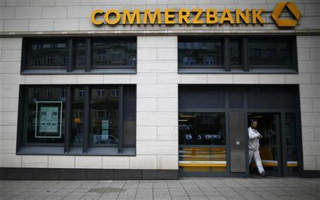 A man leaves a branch of Germany's Commerzbank in Frankfurt January 18, 2013. REUTERS/Lisi Niesner