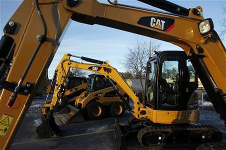 CAT machines are seen on a lot at Milton CAT in North Reading, Massachusetts January 23, 2013. REUTERS/Jessica Rinaldi