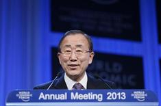 United Nations Secretary-General Ban Ki-moon addresses delegates during the annual meeting of the World Economic Forum (WEF) in Davos January 25, 2013. REUTERS/Pascal Lauener