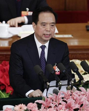 Li Jianguo, vice chairman of the Standing Committee of the National People's Congress (NPC), talks during the second plenary meeting of the NPC at the Great Hall of the People in Beijing March 8, 2012. REUTERS/Jason Lee/Files