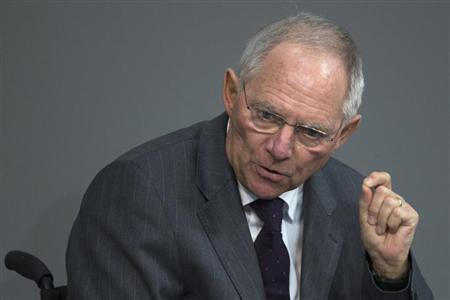 German Finance Minister Wolfgang Schaeuble speaks during a debate about the European banking union in the lower house of parliament, the Bundestag, in Berlin, January 17, 2013. Schaeuble said on Thursday he was very concerned about the impact on global liquidity of Japanese monetary policy, saying it showed a misunderstanding of central bank policy on the part of Japan's new government. The Bank of Japan eased policy five times last year but Prime Minister Shinzo Abe, who took office last month, has put pressure on them for even bolder monetary easing. REUTERS/Thomas Peter (GERMANY - Tags: POLITICS HEADSHOT)