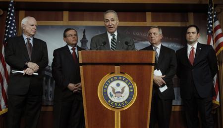 (L-R) Senators John McCain (R-AZ), Robert Menendez (D-NJ), Charles Schumer (D-NY), Richard Durbin (D-IL) and Marco Rubio (R-FL) attend a news conference on comprehensive immigration reform at the U.S. Capitol in Washington January 28, 2013. REUTERS/Gary Cameron