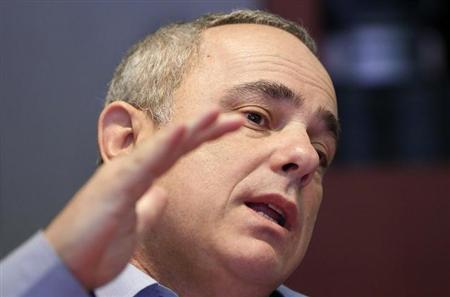 Israeli Finance Minister Yuval Steinitz speaks during an interview in New York January 28, 2013. REUTERS/Shannon Stapleton