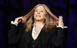 Singer and actress Barbra Streisand reacts as she speaks on stage at the Public Counsel's 40th anniversary event in Beverly Hills, California March 18, 2011. REUTERS/Mario Anzuoni