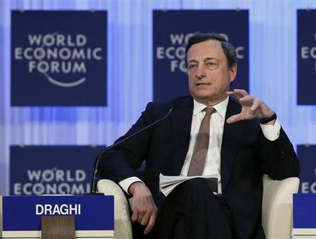 European Central Bank (ECB) President Mario Draghi attends the annual meeting of the World Economic Forum (WEF) in Davos January 25, 2013. REUTERS/Pascal Lauener
