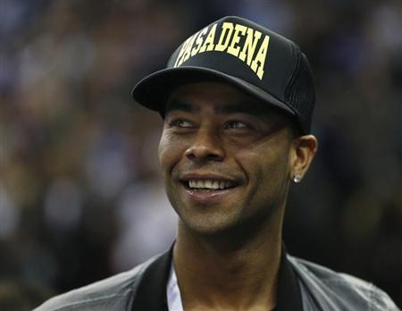 Chelsea soccer player Ashley Cole attends the New York Knicks NBA basketball game against the Detroit Pistons at the 02 Arena in London January 17, 2013. REUTERS/Suzanne Plunkett
