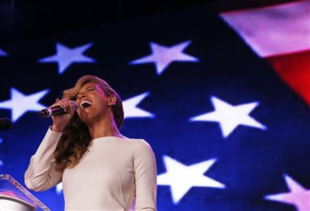 Beyonce performs the National Anthem during the halftime show press conference ahead of the NFL's Super Bowl XLVII in New Orleans, Louisiana, January 31, 2013. The San Francisco 49ers will meet the Baltimore Ravens for the NFL championship February 3. REUTERS/Jim Young