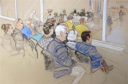 ictim Family Members and Office of Military Commissions staff watch pretrial hearings for the alleged conspirators in the 9/11 attacks in this Pentagon-approved court sketch from Guantanamo Bay, Cuba January 28, 2013. REUTERS/Janet Hamlin