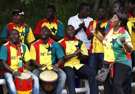Supporters of Ghana's national soccer team sing during the team's training session in Port Elizabeth January 31, 2013. REUTERS/Siphiwe Sibeko