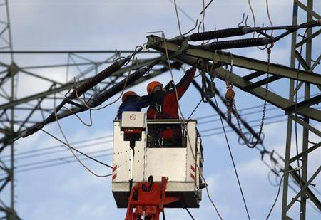 Workers remove parts of a power pole to rebuild power lines in the western city of Meckenheim January 30, 2013. REUTERS/Ina Fassbender