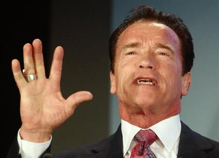 Former Californian Governor and actor Arnold Schwarzenegger delivers a speech during the opening session of the R20 - Regions of Climate Action conference in Vienna January 31, 2013. REUTERS/Heinz-Peter Bader