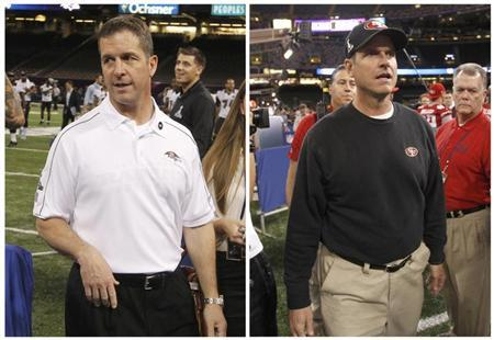 San Francisco 49ers head coach Jim Harbaugh (R) and Baltimore Ravens head coach John Harbaugh are shown in this combo photo as they arrive for Media Day at the NFL's Super Bowl XLVII in New Orleans, Louisiana January 29, 2013. REUTERS/Joe Skipper