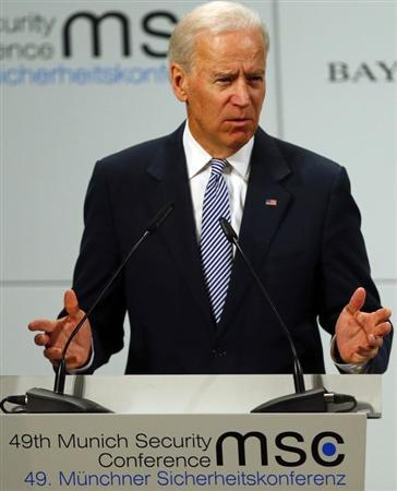 U.S. Vice President Joe Biden gives a speech at the 49th Conference on Security Policy in Munich February 2, 2013. Senior U.S., Russian and U.N. officials, along with the leader of the Syrian opposition, were all expected in Munich on Saturday, providing a rare opportunity for talks to revive efforts to end the civil war in Syria. REUTERS/Michael Dalder (GERMANY - Tags: MILITARY POLITICS)