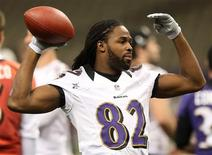 Baltimore Ravens Torrey Smith throws a ball during a practice at the Superdome ahead of the NFL's Super Bowl XLVII in New Orleans, Louisiana, February 2, 2013. REUTERS/Sean Gardner