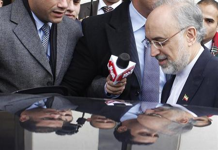 Iranian Foreign Minister Ali Akbar Salehi leaves after talking with his Egyptian counterpart Mohamed Kamel Amr during his visit to Cairo, January 10, 2013. REUTERS/Asmaa Waguih