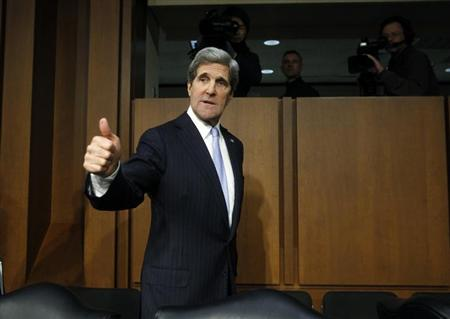 U.S. Senator John Kerry (D-MA) departs after testifying before a Senate Foreign Relations Committee confirmation hearing on his nomination to be secretary of state, on Capitol Hill in Washington, January 24, 2013. REUTERS/Gary Cameron