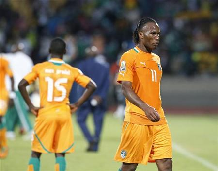 Ivory Coast's Didier Drogba leaves the pitch after losing their African Nations Cup (AFCON 2013) quarter final soccer match against Nigeria in Rustenburg, February 3, 2013. REUTERS/Mike Hutchings