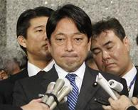 Japan's Defence Minister Itsunori Onodera speaks to reporters at the Defence Ministry in Tokyo February 5, 2013. REUTERS/Yuya Shino
