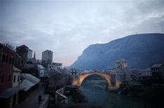 The restored old stone bridge over Neretva river is seen in Mostar February 1, 2013. REUTERS/Dado Ruvic