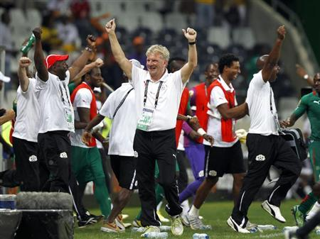 Burkina Faso's coach Paul Put celebrates winning their African Cup of Nations (AFCON 2013) quarter-final soccer match against Togo at the Mbombela Stadium in Nelspruit, February 3, 2013. REUTERS/Thomas Mukoya