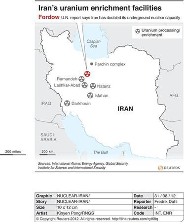 Map locating Iran's uranium enrichment facilities where a U.N. report says it has doubled its underground nuclear capacity.