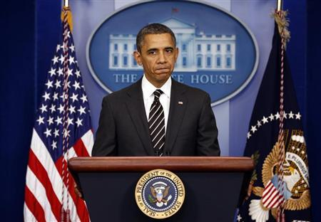 U.S. President Barack Obama speaks from the briefing room of the White House in Washington February 5, 2013. REUTERS/Kevin Lamarque