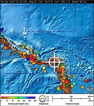 A bulletin released by the Pacific Tsunami Warning Center/NOAA/NWS issued on February 6, 2013 shows the area affected by the tsunami warning following a major earthquake measuring 8.0 magnitude off the Solomon Islands. A small tsunami hit the Solomon Islands on Wednesday after a major undersea earthquake sparked a tsunami warning for several South Pacific island nations and placed many more nations including Australia and Indonesia on alert. REUTERS/Pacific Tsunami Warning Center/NOAA/NWS/Handout