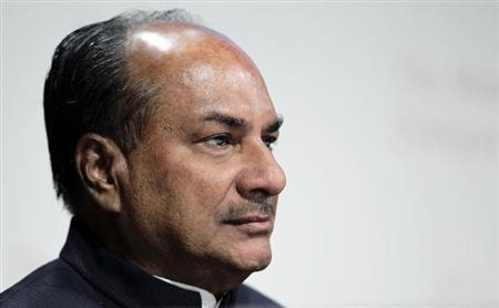 India's Defence Minister A.K. Antony waits to speak at a plenary session of the 11th International Institute of Strategic Studies (IISS) Asia Security Summit: The Shangri-La Dialogue in Singapore in this file photo taken June 2, 2012. REUTERS/Tim Chong